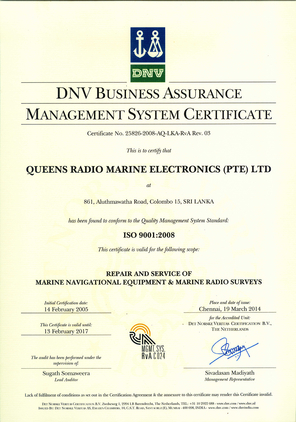 DNV Business Assurance Management Certificate | Queens Group